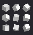 3d cubes box square geometric shape vector image