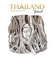 amazing buddha head in tree roots thailand vector image vector image