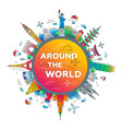 around the world - flat design travel composition vector image