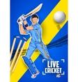 Batsman playing cricket championship vector image vector image