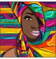 beautiful black woman wearing a colorful wrap vector image vector image