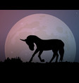 big moon in the night sky the silhouette of the vector image vector image