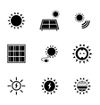 black solar energy icons set vector image vector image
