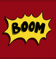 boom hand drawn phrase in pop art style vector image vector image