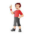 boy pointing forefinger up vector image vector image