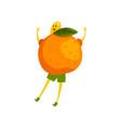brave mandarin cartoon character funny humanized vector image vector image