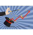 Business hand with graph flying out of the magic vector image vector image