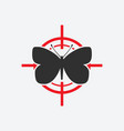 butterfly black silhouette on a red target vector image vector image