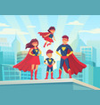 cartoon superhero family mom dad and childrens in vector image vector image