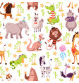 childish animals seamless pattern cute summer vector image