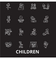 children editable line icons set on black vector image vector image