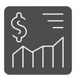 currency graph solid icon money rate vector image