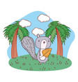 cute little chipmunk with leaf in the field vector image