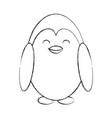 cute sketch penguin cartoon vector image vector image