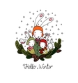 Family of rabbits tree branches and bird vector image