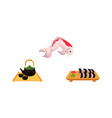flat coi carp sushi and tea ceremony set vector image vector image