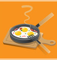 fried eggs on a frying pan with fresh green vector image vector image