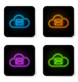 glowing neon cloud mail server icon isolated on vector image vector image