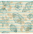 Grunge sea seamless pattern with contours shells vector image vector image