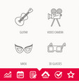 guitar music video camera and theatre mask icons vector image