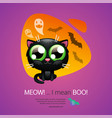 halloween greeting card with cat vector image vector image