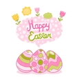 Happy Easter background with cartoon cute eggs and vector image