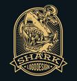 head shark anchor angry logo black vector image