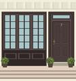 house door front with doorstep and steps window vector image vector image