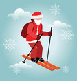 isometric isolated santa claus skiing christmas vector image