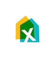 letter x house home overlapping color logo icon vector image