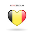 love belgium symbol flag heart glossy icon on a vector image
