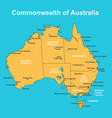 map of australia with major towns and cities vector image