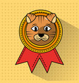 pet cat winner medal ribbon award vector image