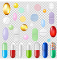 pills set transparent background vector image vector image