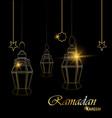ramadan beautiful greeting card with hanging vector image vector image