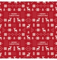 seamless retro red christmas pattern with deers vector image vector image