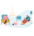 senior couple relax sitting in living room woman vector image
