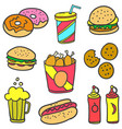 set of food various style doodles vector image vector image