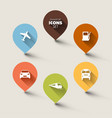 set of retro round flat transport pointers vector image vector image