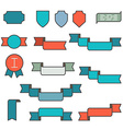 set ribbons in flat line style vector image