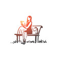 student girl book reading bench concept vector image