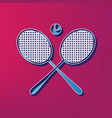 tennis racket sign blue 3d printed icon vector image vector image