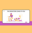 tiny student characters at huge bookshelf landing vector image vector image