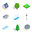 townlet icons set isometric style vector image vector image