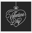 valentines day lettering heart on black design vector image