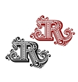 Vintage letter R vector image