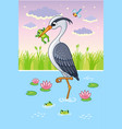 with a bird in cartoon style vector image vector image