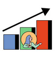 woman avatar presenting success on chart vector image vector image