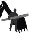 worker carries material by machine vector image