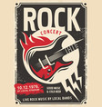 rock music retro poster design vector image
